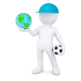 3d white man with soccer ball holding the Earth Stock Photography