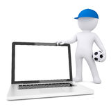 3d white man with soccer ball holding laptop Stock Images