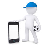 3d white man with soccer ball holding smartphone Royalty Free Stock Photos