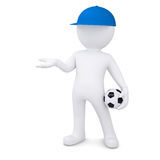 3d white man with soccer ball holds out empty hand Stock Images
