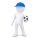 3d white man with soccer ball Stock Photography