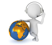 3d white man stand with earth planet globe Royalty Free Stock Photos