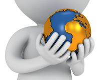 3d white man stand with earth planet globe. 3d white people stand with earth planet globe in his hands. Isolated on white Royalty Free Stock Image