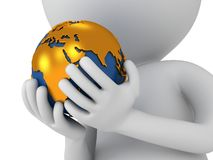 3d white man stand with earth planet globe Royalty Free Stock Images