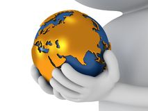 3d white man stand with earth planet globe. 3d white people stand with earth planet globe in his hands. Isolated on white Stock Photography
