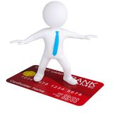 3d white man standing on a credit card. Isolated render on a white background Royalty Free Stock Photo