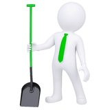 3d white man standing and holding a shovel Royalty Free Stock Images