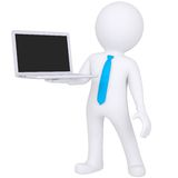 3d white man standing with a laptop. Isolated render on a white background Royalty Free Stock Image