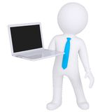 3d white man standing with a laptop. Isolated render on a white background Stock Image
