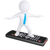 3d white man standing on the remote Stock Images