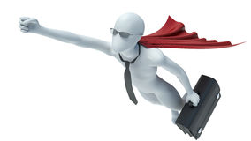 3d white man. Super Businessman flying with a suitcase.  Royalty Free Stock Photos