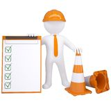 3d white man with traffic cones Royalty Free Stock Photo