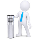3d white man with a trash can. Isolated render on a white background Royalty Free Stock Photo
