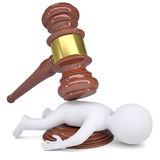 3d white man under the hammer of the judge. Isolated render on a white background Stock Photos