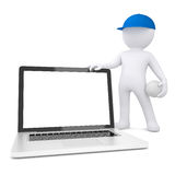 3d white man with volleyball ball holding laptop Royalty Free Stock Image