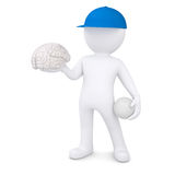 3d white man with volleyball ball keeps the brain. 3d white man with a volleyball ball keeps the brain.  render on a white background Royalty Free Stock Photography