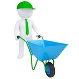 3d white man with a wheelbarrow Royalty Free Stock Photo