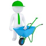 3d white man with a wheelbarrow Stock Photos