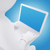 3d white man working on a laptop stock illustration