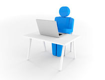 3d white man working. Render on a white background Royalty Free Stock Images