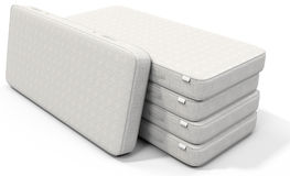 3d white mattress stack. On white background Royalty Free Stock Images