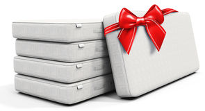 3d white mattress stack  with red bow. On white background Stock Photo