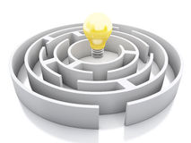 3d White maze with light bulb icon. 3d renderer image. White maze with light bulb icon.  white background Stock Photo