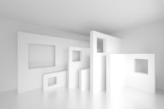 3d White Modern Background. Abstract Architecture Design. 3d White Modern Background Royalty Free Stock Images