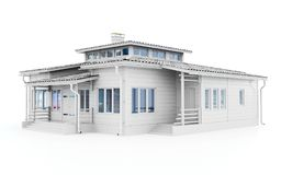 3d white modern house stock illustration