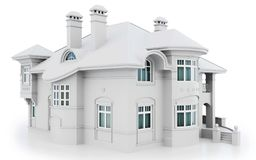 3d white modern house. On white background 3D illustration vector illustration