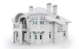 3d white modern house vector illustration