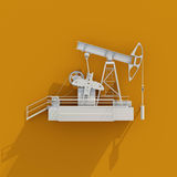3d White Oil Rig Icon on Orange Background Royalty Free Stock Photography