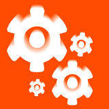 3d white on orange Cogs And Gears Icon Vector Royalty Free Stock Photos