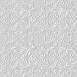 3D white paper art Aboriginal Spiral Curve Cross Frame Vine. Vector stylish decoration pattern background for web banner greeting card design Royalty Free Stock Photos