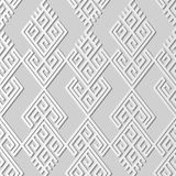 3D white paper art Check Spiral Cross Tracery Geometry Frame. Vector stylish decoration pattern background for web banner greeting card design Stock Images