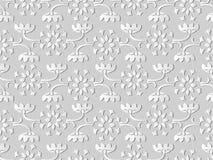 3D white paper art Curve Cross Stem Leaf Frame Vine Flower. Vector stylish decoration pattern background for web banner greeting card design Royalty Free Stock Image