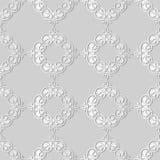 3D white paper art Curve Spiral Cross Plant Leaf Cross Frame Vin. E, Vector stylish decoration pattern background for web banner greeting card design Stock Images