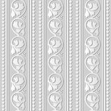 3D white paper art Curve Spiral Vine Plant Leaf Check Cross Line. Vector stylish decoration pattern background for web banner greeting card design Royalty Free Stock Photography