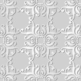3D white paper art Curve Square Spiral Curve Cross Frame Crest. Vector stylish decoration pattern background for web banner greeting card design Royalty Free Stock Photos