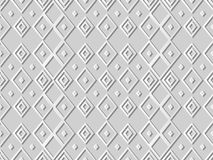 3D white paper art Diamond Check Cross Rhomb Geometry. Vector stylish decoration pattern background for web banner greeting card design Stock Image