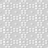 3D white paper art Geometry Brick Cross Check. Vector stylish decoration pattern background for web banner greeting card design Stock Photos