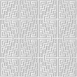 3D white paper art Mosaic Pixel Square Geometry Cross Frame. Vector stylish decoration pattern background for web banner greeting card design Stock Photos