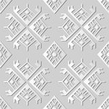 3D white paper art Polygon Check Geometry Cross Aboriginal Frame. Vector stylish decoration pattern background for web banner greeting card design Stock Images