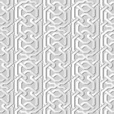 3D white paper art Polygon Geometry Cross Frame Chain Line. Vector stylish decoration pattern background for web banner greeting card design Royalty Free Stock Photography