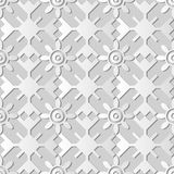 3D white paper art Polygon Geometry Round Cross Frame Flower. Vector stylish decoration pattern background for web banner greeting card design Stock Images