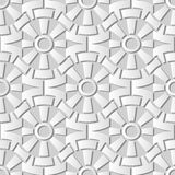3D white paper art Round Gear Cross Geometry Flower. Vector stylish decoration pattern background for web banner greeting card design Royalty Free Stock Photography