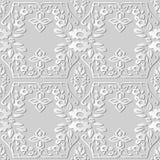 3D white paper art Spiral Cross Elegant Botanic Flower Frame. Vector stylish decoration pattern background for web banner greeting card design Royalty Free Stock Photography