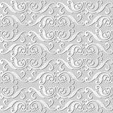 3D white paper art Spiral Cross Frame Crest. Vector stylish decoration pattern background for web banner greeting card design Stock Photos