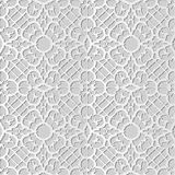 3D white paper art Spiral Curve Cross Frame Flower Lace. Vector stylish decoration pattern background for web banner greeting card design stock illustration