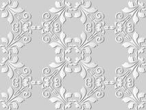 3D white paper art Spiral Curve Vortex Cross Leaf Flower. Vector stylish decoration pattern background for web banner greeting card design Stock Photos